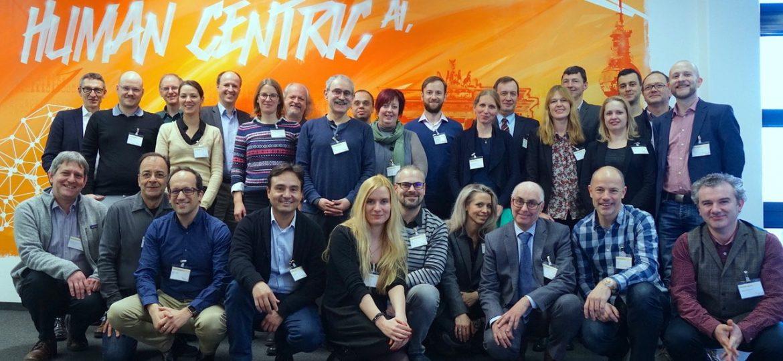 Kick-off meeting of the European Language Grid project at DFKI Berlin (22/23 January, 2019). Front row (from left to right): Ulrich German (UEDIN), Stelios Piperidis (ILSP), Jose Manuel Gomez-Perez (ESI), Andres Garcia (ESI), Stefanie Hegele (DFKI), Julian Moreno Schneider (DFKI), Katja Prinz (SAIL), Khalid Choukri (ELDA), Gerhard Backfried (SAIL), Alexandru Ceausu (EU). Back row (from left to right): Georg Rehm (DFKI), Severin Stampler (SAIL), Ian Roberts (UEDIN), Maria Moritz (DFKI), Christoph Prinz (SAIL), Ela Elsholz (DFKI), Thierry Declerck (DFKI), Josef van Genabith (DFKI), Dimitris Galanis (ILSP), Penny Labropoulou (ILSP), Lukas Kacena (CUNI), Jana Hamrlova (CUNI), Jan Hajic (CUNI), Katrin Marheinecke (DFKI), Andrejs Vasiļjevs (TILDE), Julija Melnika (TILDE), Ondrej Klejch (UEDIN), Philippe Gelin (EU), Florian Kintzel (DFKI).